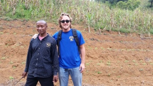 Billy and Project Partner Sadiki, showing us his field of recently planted green bell peppers
